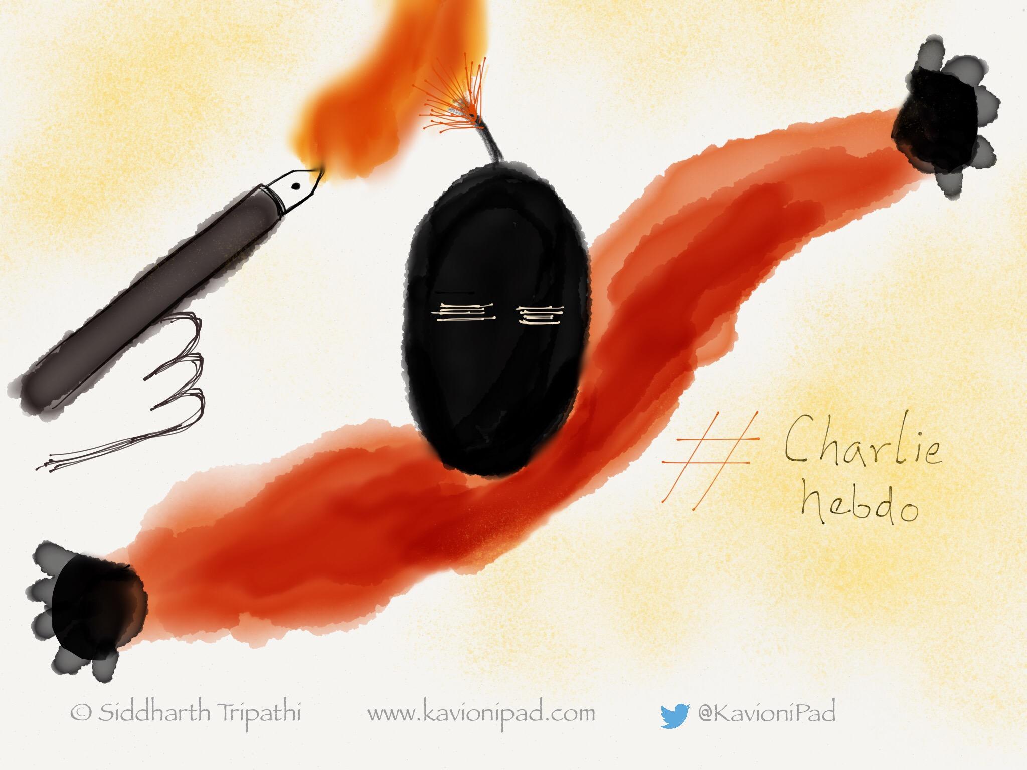 Fire of Pen can burn every fear, every terror#CharlieHebdo